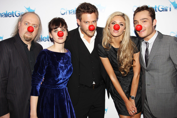 The Cast of Chalet Girl wear their Red Noses for Comic Relief