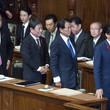 Taro Aso Japanese Prime Minister Shinzo Abe Delivers Policy Speech As Extraordinary Diet Session Begins