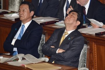Taro Aso Japan's Prime Minister Shinzo Abe Attends a Plenary Session