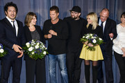 Fahri Yardim, Britta Hammelstein, Til Schweiger, Christian Alvart, Helene Fischer and guests attend the 'Tatort - Der Grosse Schmerz' premiere in Berlin at Kino Babylon on December 16, 2015 in Berlin, Germany.