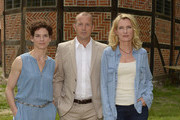 (l-r) Bibiana Beglau, Heino Ferch and Maria Furtwaengler attend photocall of 'Tatort - Der gute Hirte' at Gut Holm on August 6, 2014 in Buchholz, Germany.