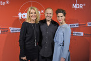 "(l-r) Maria Furtwaengler, Heino Ferch and Bibiana Beglau attend premiere of Tatort ""Der sanfte Tod"" at Passage cinema on December 3, 2014 in Hamburg, Germany."