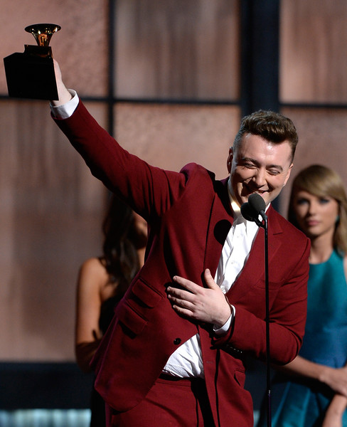 57th GRAMMY Awards - Show [red,formal wear,suit,event,outerwear,performance,photography,acting,gesture,tuxedo,sam smith,taylor swfit,grammy awards,award,best new artist,california,los angeles,l,show,57th annual grammy awards]
