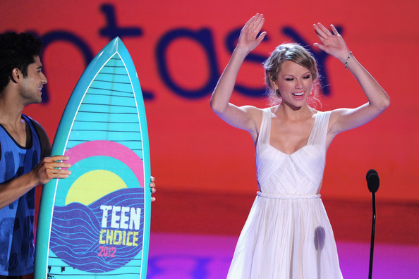Taylor Swift Singer Taylor Swift speaks onstage during the 2012 Teen Choice Awards at Gibson Amphitheatre on July 22, 2012 in Universal City, California.