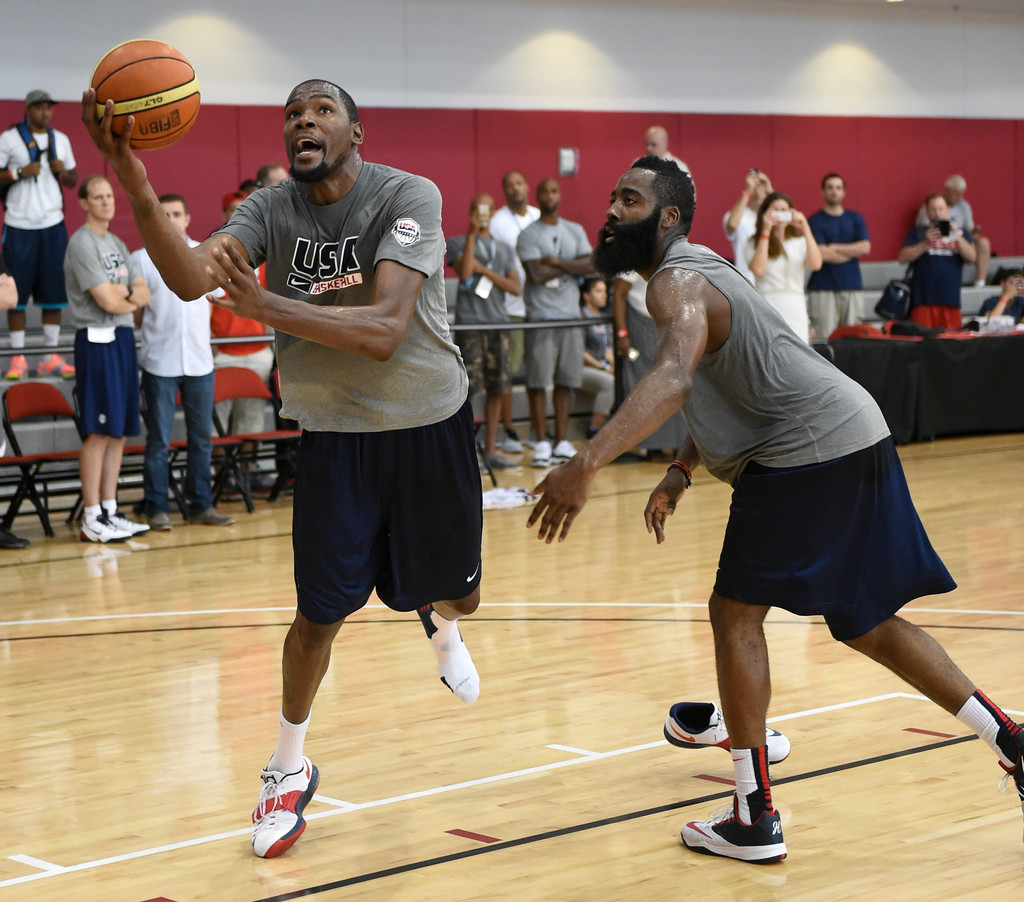 James Harden Quadruple Team: Kevin Durant And James Harden Photos Photos