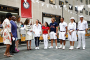 (From right) United States Olympic atletes Steven Lopez, Diana Lopez, Bryan Clay, Tony Azevedo, Aly Raisman and Rebecca Soni appear on the Today Show during the Team USA Road to London 100 Days Out Celebration in Times Square on April 18, 2012 in New York City.