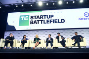 (L-R) TechCrunch Editor-In-Chief Matthew Panzarino, Floodgate Co-Founder & Partner Ann Miura-Ko, Lumi Labs Co-founder Marissa Mayer, Sequoia Partner Capital Alfred Lin, Sound Ventures Co-Founder Ashton Kutcher, and Kleiner Perkins General Partner Mamoon Hamid speak onstage during TechCrunch Disrupt San Francisco 2019 at Moscone Convention Center on October 04, 2019 in San Francisco, California.