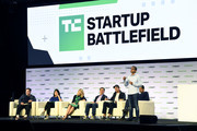 Render's Anurag Goel (R) speaks onstage during TechCrunch Disrupt San Francisco 2019 at Moscone Convention Center on October 04, 2019 in San Francisco, California.