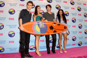 (L-R) Actors Paul Wesley, Nina Dobrev, Ian Somerhalder and Kat Graham, winners of Choice Fantasy/Sci-Fi Show award, pose in the press room during the 2012 Teen Choice Awards at Gibson Amphitheatre on July 22, 2012 in Universal City, California.