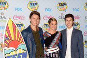 "(L-R) Actors Ansel Elgort, Shailene Woodley and Nat Wolff pose with the Choice Movie: Drama award for ""The Fault in Our Stars"" in the press room during FOX's 2014 Teen Choice Awards at The Shrine Auditorium on August 10, 2014 in Los Angeles, California."