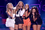 (L-R) Singers Perrie Edwards, Jade Thirlwall, Leigh-Anne Pinnock and Jesy Nelson of Little Mix perform onstage during the Teen Choice Awards 2015 at the USC Galen Center on August 16, 2015 in Los Angeles, California.
