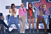 (L-R) Singers Leigh-Anne Pinnock, Perrie Edwards, Jesy Nelson and Jade Thirlwall of Little Mix perform onstage during the Teen Choice Awards 2015 at the USC Galen Center on August 16, 2015 in Los Angeles, California.