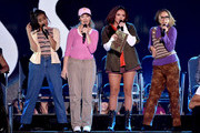 (L-R) Singers Leigh-Anne Pinnock, Perrie Edwards, Jesy Nelson, and Jade Thirlwall of Little Mix perform onstage during the Teen Choice Awards 2015 at the USC Galen Center on August 16, 2015 in Los Angeles, California.