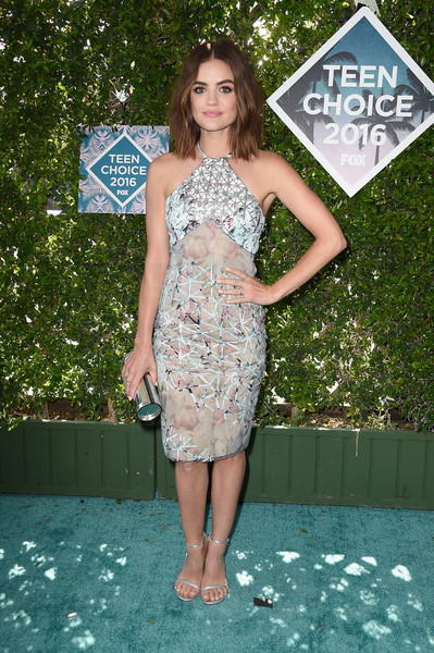 Lucy Hale went the modern route in an Azzaro halter dress, featuring lattice embroidery on a subtly printed background, for her Teen Choice Awards 2016 look.