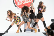 (L-R) Jade Thirlwall, Leigh-Anne Pinnock, Perrie Edwards, and Jesy Nelson of Little Mix perform onstage at Teen Vogue's Back-to-School Saturday kick-off event at The Grove on August 9, 2013 in Los Angeles, California.