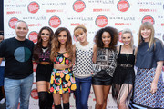(L-R) Publisher of Teen Vogue Jason Wagenheim, Jesy Nelson, Jade Thirlwall, actress Bella Thorne, Leigh-Anne Pinnock, Perrie Edwards and Editor-in-chief of Teen Vogue Amy Astley attend Teen Vogue's Back-to-School Saturday kick-off event at The Grove on August 9, 2013 in Los Angeles, California.