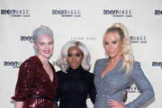 (L-R) Vera Papisova, Jackie Aina, and Gigi Gorgeous attend the Teen Vogue Summit at 72andSunny on December 1, 2018 in Los Angeles, California.