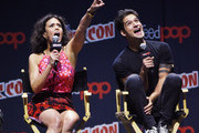 """Tyler Posey and Melissa Ponzio attend the """"Teen Wolf"""" Final Farewell during day 3 of 2016 New York Comic Con at Hammerstein Ballroom on October 8, 2016 in New York City."""