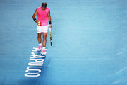 Rafael Nadal of Spain prepares to serve during the singles match against Taylor Fritz of the United States during Day 6 of the ATP Mexican Open at Princess Mundo Imperial on February 29, 2020 in Acapulco, Mexico.