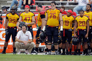 Head coach Randy Edsall of the Maryland Terrapins squats on the sidelines during the closing moments of the Terrapins 38-7 loss to the Temple Owls at Byrd Stadium on September 24, 2011 in College Park, Maryland.