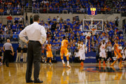 Head coach Billy Donovan of the Florida Gators looks on during the second half of the game against the Tennessee Volunteers at the Stephen C. O'Connell Center on February 28, 2015 in Gainesville, Florida.