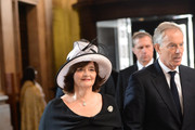 Cherie Blair and Tony Blair arrive to attend the service to commemorate the tenth anniversary of the London 7/7 bombings at St Pauls Cathedral on July 7, 2015 in London, England.  Today is the tenth anniversary of the 7/7 bombings, when four suicide bombers struck transport system in central London on Thursday 7 July 2005, killing 52 people and injuring more than 770 in simultaneous attacks.