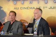 Actor Arnold Schwarzenegger and Director Alan Taylor attend the France Press Junket of 'Terminator Genisys' at the Hotel Four Season Georges V on June 19, 2015 in Paris, France.