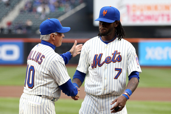 Terry Collins Manager Terry Collins #10 of the New York Mets greets Jose Reyes #7 during player introducitons against the Washington Nationals during the Mets' Home Opener at Citi Field on April 8, 2011 in the Flushing neighborhood of Queens in New York City.