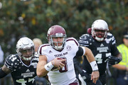 Quarterback Trevor Knight #8 of the Texas A&M Aggies scrambles for yardage during the first half of an NCAA college football game against the Mississippi State Bulldogs at Davis Wade Stadium on November 5, 2016 in Starkville, Mississippi.