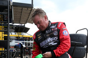 Joe Nemechek, driver of the #8 ROMCO Equipment Co. Chevrolet, inflates tires during practice for the NASCAR Camping World Truck Series PPG 400 at Texas Motor Speedway on June 7, 2018 in Fort Worth, Texas.