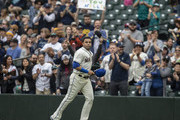Nelson Cruz #23 of the Seattle Mariners jogs off the field after being replaced during the fourth inning of a game at Safeco Field on September 30, 2018 in Seattle, Washington. The Mariners won the game 3-1.