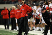 Head coach Tommy Tuberville of the Texas Tech Red Raiders at Cowboys Stadium on November 26, 2011 in Arlington, Texas.