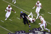 Shawn Robinson #3 of the TCU Horned Frogs runs the ball against the Texas Tech Red Raiders at Amon G. Carter Stadium on October 11, 2018 in Fort Worth, Texas.