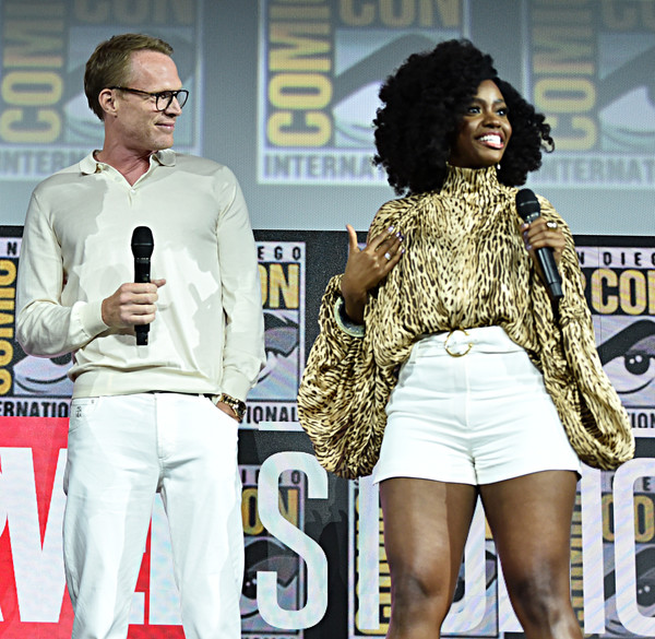 Marvel Studios Hall H Panel [hairstyle,fashion,thigh,leg,street fashion,shorts,fashion design,performance,talent show,style,teyonah parris,paul bettany,wandavision,hall h,san diego,california,marvel studios hall h panel,marvel studios panel,san diego comic-con international]