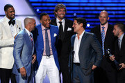 (L-R) NBA Dallas Mavericks Tyson Chandler, Jason Kidd, Shawn Marion, Dirk Nowitzki, Owner Mark Cuban, Brian Cardinal and Jose Juan Barea accept award for Best Team  atThe 2011 ESPY Awards at Nokia Theatre L.A. Live on July 13, 2011 in Los Angeles, California.