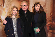 (L to R) Sophie Nelisse, Ben Becker and Emily Watson arrive for the German premiere of the film 'The Book Thief' (Die Buecherdiebin) at Zoo Palast on January 23, 2014 in Berlin, Germany.