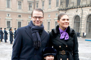 (L-R) Crown Princess Victoria of Sweden, Princess Estelle and Prince Daniel, Duke of Vastergotland participate in a celebration for the Crown Princess' name day at the Stockholm Royal Palace on March 12, 2018 in Stockholm, Sweden.