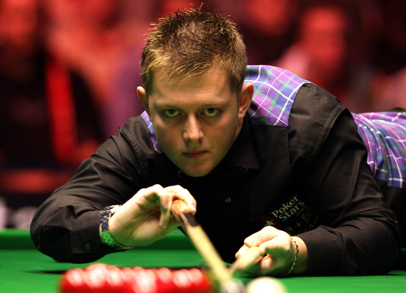 Mark Allen of Ireland takes his shot in his quarter final game against Mark Selby of England during the PokerStars.com Masters tournament at Wembley Arena on January 15, 2010 in London, England.