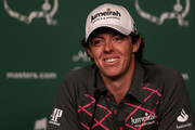 Rory McIlroy of Northern Ireland speaks to the media during a practice round prior to the start of the 2012 Masters Tournament at Augusta National Golf Club on April 3, 2012 in Augusta, Georgia.