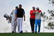(L-R) Thomas Bjorn of Denmark, Sergio Garcia of Spain and Thorbjorn Olesen of Denmark walk down the fairway during a practice round prior to the start of the 2014 Masters Tournament at Augusta National Golf Club on April 8, 2014 in Augusta, Georgia.