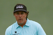 Phil Mickelson reacts during a practice round prior to the start of the 2012 Masters Tournament at Augusta National Golf Club on April 3, 2012 in Augusta, Georgia.