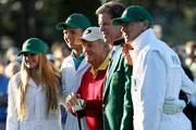 Jack Nicklaus of the United States, Gary Player of South Africa and Fred Ridley, Chairman of Augusta National Golf Club, take part in the opening tee ceremony for the first round of the 2018 Masters Tournament at Augusta National Golf Club on April 5, 2018 in Augusta, Georgia.