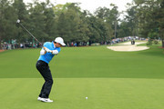 Rory McIlroy of Northern Ireland plays his shot from the first tee during the third round of the 2018 Masters Tournament at Augusta National Golf Club on April 7, 2018 in Augusta, Georgia.
