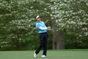 Rory McIlroy of Northern Ireland  plays his second shot on the 11th hole during the third round of the 2018 Masters Tournament at Augusta National Golf Club on April 7, 2018 in Augusta, Georgia.