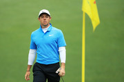 Rory McIlroy of Northern Ireland reacts to a putt on the tenth green during the third round of the 2018 Masters Tournament at Augusta National Golf Club on April 7, 2018 in Augusta, Georgia.
