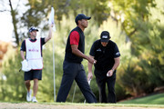 Tiger Woods and Phil Mickelson react on the ninth green during The Match: Tiger vs Phil at Shadow Creek Golf Course on November 23, 2018 in Las Vegas, Nevada.