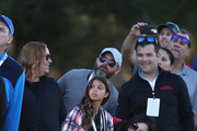 Erica Herman, girlfriend of Tiger Woods, and his children Sam and Charlie look on during The Match: Tiger vs Phil at Shadow Creek Golf Course on November 23, 2018 in Las Vegas, Nevada.