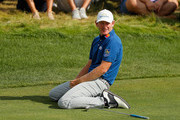Brandt Snedeker of the United States reacts to a missed eagle putt on the 13th green during the final round of The Northern Trust at Liberty National Golf Club on August 11, 2019 in Jersey City, New Jersey.