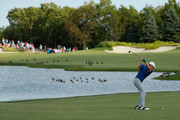Brandt Snedeker of the United States plays a shot on the 13th hole  during the final round of The Northern Trust at Liberty National Golf Club on August 11, 2019 in Jersey City, New Jersey.