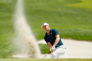 Jordan Spieth of the United States plays a shot from a bunker on the seventh hole  during the final round of The Northern Trust at Liberty National Golf Club on August 11, 2019 in Jersey City, New Jersey.